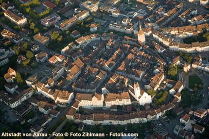Ein Blick auf die Altstadt von Aarau