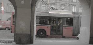 Fotokomposition Bus in Bern, Mai 2016
