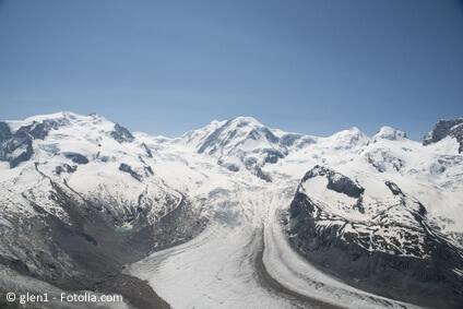 Der höchste Berg in der Schweiz, die Dufourspitze