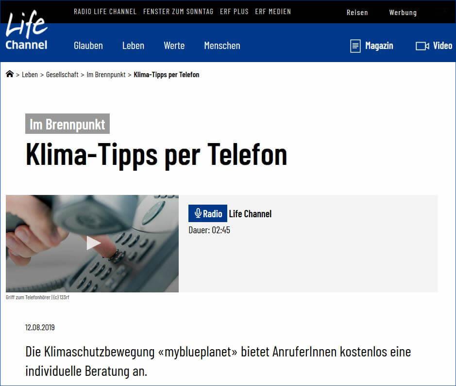 Klimawandel in der Schweiz: Tipps am Telefon