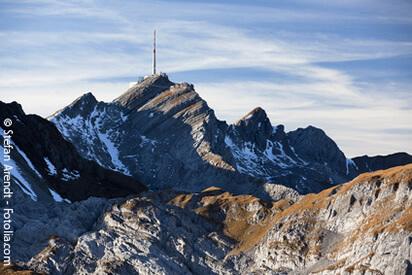 Säntis ist der höchste Berg, 2502 m.ü.M