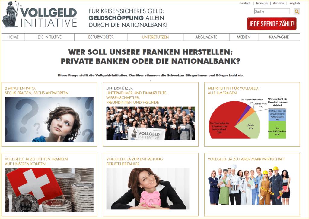 Vollgeld-Initative - Webseite